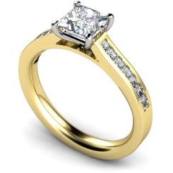 HRPSD576 Princess Shoulder Diamond Ring - yellow