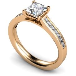 HRPSD576 Princess Shoulder Diamond Ring - rose