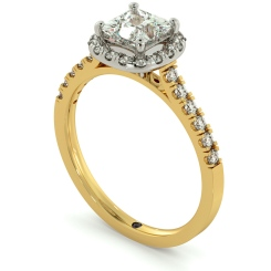 HRPSD680 Princess cut Cushion Halo Diamond Ring - yellow