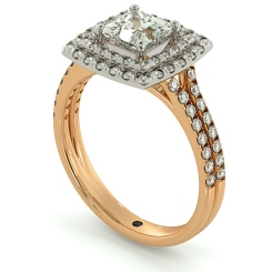 HRPSD688 Split Double Band Double Halo Princess cut Diamond Ring - rose