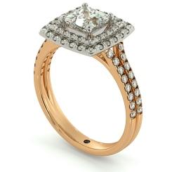 HRPSD688 Split Double Band Double Halo Princess cut Diamond Ring - rose