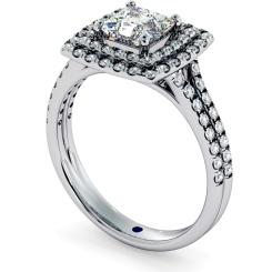 HRPSD688 Split Double Band Double Halo Princess cut Diamond Ring - white
