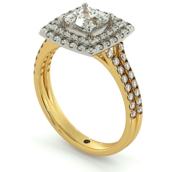 HRPSD688 Split Double Band Double Halo Princess cut Diamond Ring - yellow