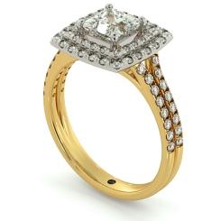 HRPSD688 Split Double Band Double Halo Princess cut Diamond Ring - yellow