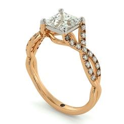 HRPSD690 Crossover Swirls Princess cut Halo Diamond Ring - rose