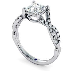 HRPSD690 Crossover Swirls Princess cut Halo Diamond Ring - white