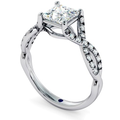 HRPSD690 Crossover Swirls Princess cut Halo Diamond Ring - white