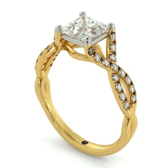 HRPSD690 Crossover Swirls Princess cut Halo Diamond Ring - yellow