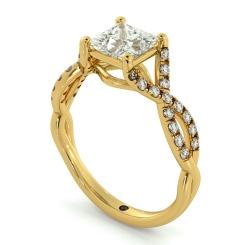 HRPSD690 Crossover Swirls Princess cut Halo Diamond Ring - yellow