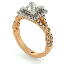 HRPSD694 Designer Princess Halo Diamond Ring - rose