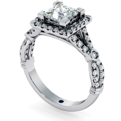 HRPSD694 Designer Princess Halo Diamond Ring - white