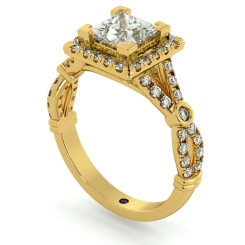 HRPSD694 Designer Princess Halo Diamond Ring - yellow