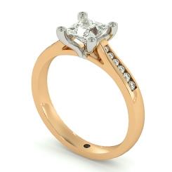 HRPSD741 Princess  Shoulder Diamond Ring - rose