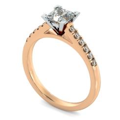 HRPSD795 V set Princess  cut U prong Shoulder Diamond Engagement Ring - rose