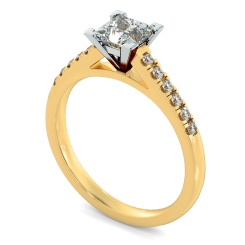 HRPSD795 V set Princess  cut U prong Shoulder Diamond Engagement Ring - yellow