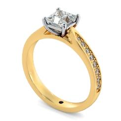 HRPSD796 Princess  Shoulder Diamond Ring - yellow