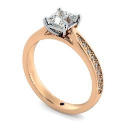 HRPSD796 Princess  Shoulder Diamond Ring - rose