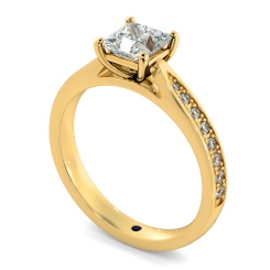 HRPSD796 Princess  Shoulder Diamond Ring - yellow
