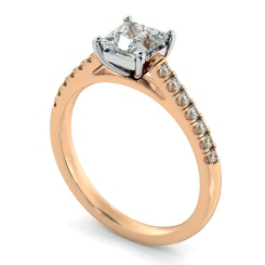 HRPSD811 Princess Shoulder Diamond Ring - rose