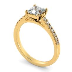 HRPSD811 Princess Shoulder Diamond Ring - rose
