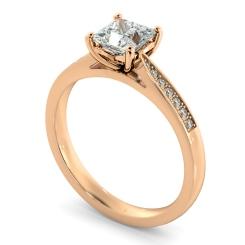 HRPSD812 Princess Shoulder Diamond Ring - rose