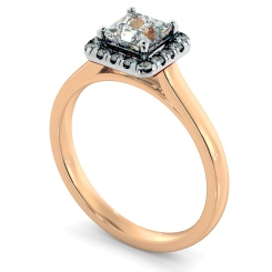 HRPSD824 Princess Halo Diamond Ring - rose
