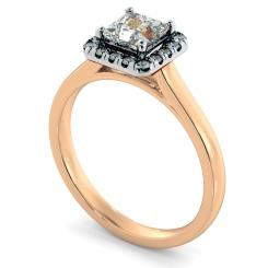 HRPSD824 Princess Halo Diamond Ring - rose