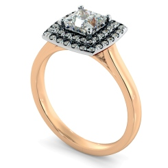 HRPSD825 Princess Halo Diamond Ring - rose