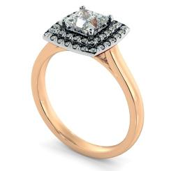 HRPSD825 Princess Halo Diamond Ring - rose