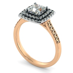 HRPSD826 Princess Halo Diamond Ring - rose