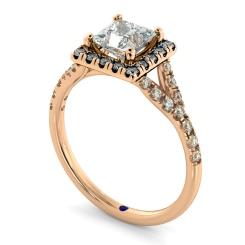 HRPSD827 Princess Halo Diamond Ring - rose