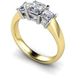 HRPTR118 Princess 3 Stone Diamond Ring - yellow