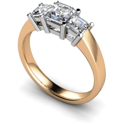 HRPTR118 Princess 3 Stone Diamond Ring - rose