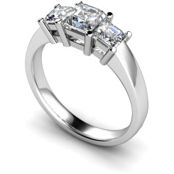 HRPTR118 Princess 3 Stone Diamond Ring - white