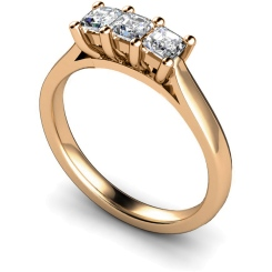 HRPTR131 3 Princess Diamonds Trilogy Ring - rose