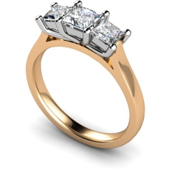 HRPTR133 Princess 3 Stone Diamond Ring - rose