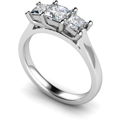 HRPTR133 Princess 3 Stone Diamond Ring - white
