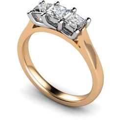 HRPTR139 Princess 3 Stone Diamond Ring - rose
