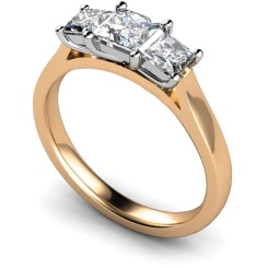 HRPTR151 Princess 3 Stone Diamond Ring - rose