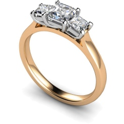 HRPTR155 Princess 3 Stone Diamond Ring - rose