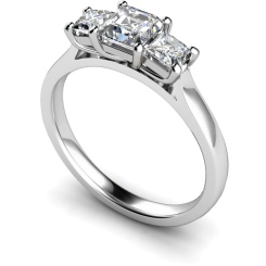 HRPTR155 Princess 3 Stone Diamond Ring - white