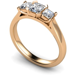 HRPTR156 Princess 3 Stone Diamond Ring - rose