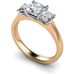 HRPTR163 Princess 3 Stone Diamond Ring - rose