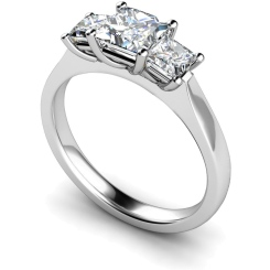 HRPTR163 Princess 3 Stone Diamond Ring - white