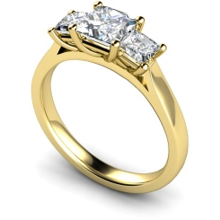 HRPTR168 Princess 3 Stone Diamond Ring - yellow