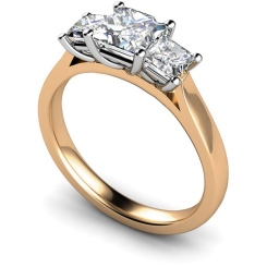 HRPTR168 Princess 3 Stone Diamond Ring - rose