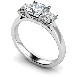 HRPTR168 Princess 3 Stone Diamond Ring - white
