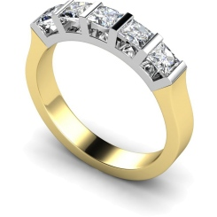 HRPTR210 Princess 5 Stone Diamond Ring - yellow