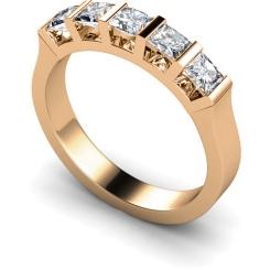 HRPTR210 Princess 5 Stone Diamond Ring - rose