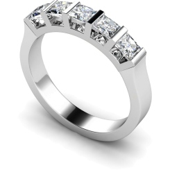 HRPTR210 Princess 5 Stone Diamond Ring - white